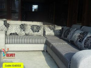 Sid002 Corner Sofa  – Black and White with flower