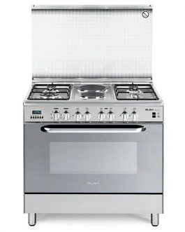 Elba 9DX770 multipurpose electric with two hotplate steel and 4 burner