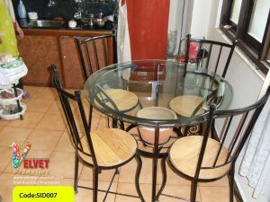 Dinner Table with circle glass table