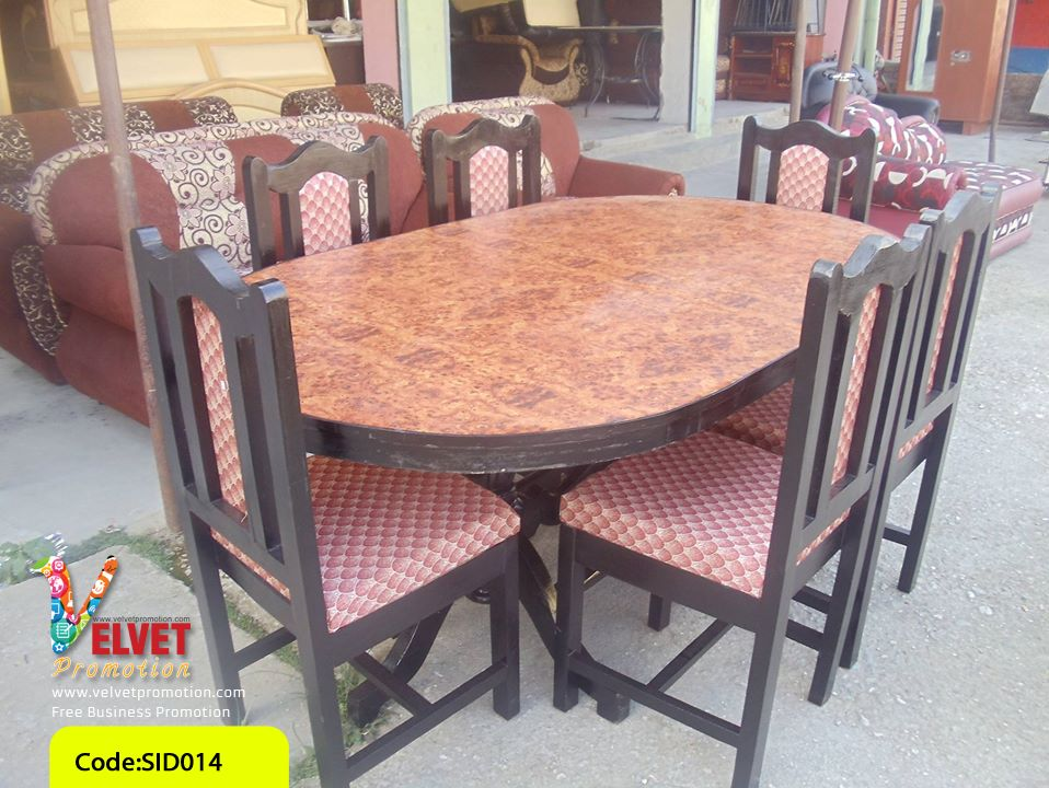 Oval Brown Furnished Dinning Table